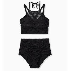 Torrid black crochet bikini set
